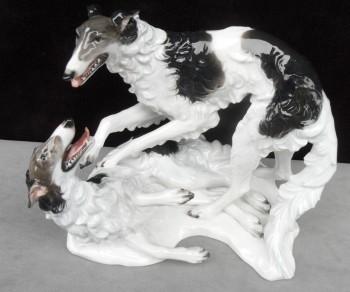 Rosenthal Art Deco Fritz Heidenreich Borzoi Dogs Figurine