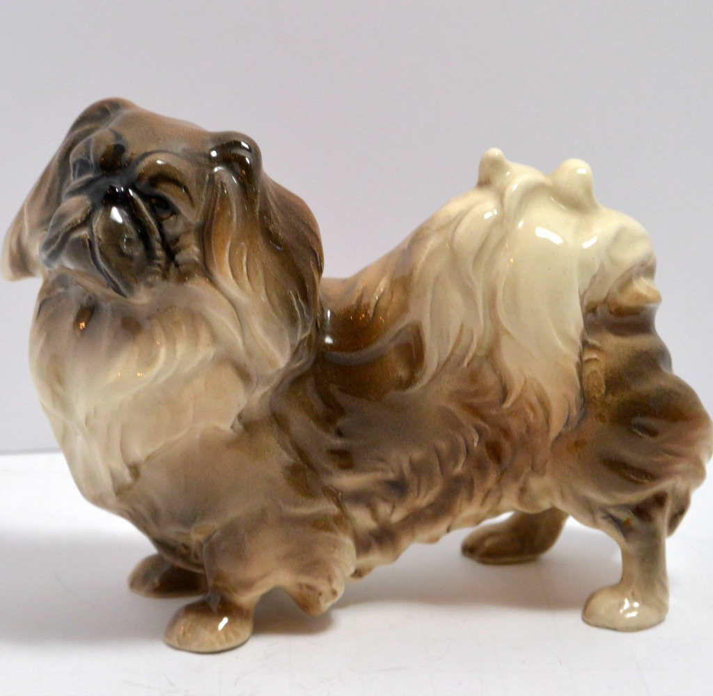 Austrian Porcelain Pekingese Figurine C 1940 A Dog S Tale