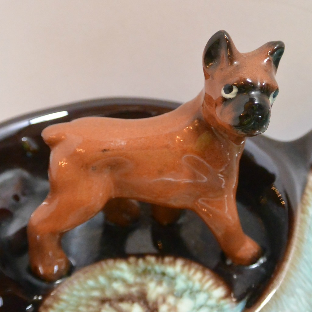 Tilso Japan Pottery Mother Boxer Dog And Puppies Ashtray C